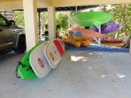 8 kyacks and 4 paddle boards