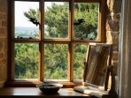 Views from Walnut main bedroom. Start your day with birdsong in Cotswold setting on your windowsill.
