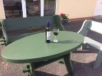 Enjoy a glass of wine in your own seating area.