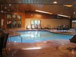Indoor pool. This main building also has a whirlpool, fitness room & game room