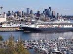Cruise ships dock just below neighborhood, less than a mile away