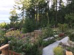 Gardens with walk paths, swing bench, fruit trees, etc.