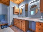The master bedroom boasts an en suite bathroom.