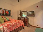 The master bedroom has cable television and plenty of storage