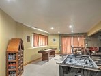 The home contains a game room where you can play foosball or shuffleboard.