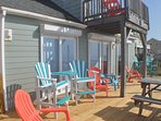 Beach deck with loft deck above, great for watching the kids on the beach.