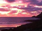 Spectacular sunset over Polzeath