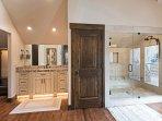 Large Walk in Shower, Two Separate Vanities in Master Bathroom