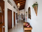 Hallway to the 2 double bedrooms in the villa.