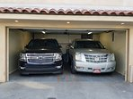 Two Suvs in the Garage.