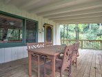 Enjoy spending time with your travel companions on the spacious covered deck.