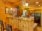 The 2-person breakfast bar is a great spot to enjoy a quick snack.