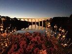 Viaduct at night.