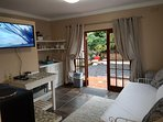 Living area with tv and kitchenette and daybed and separate Bathroom