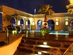 a view of swimming pool at night