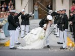 We get a lot of Citadel families. This is my nephew kissing his bride.