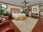 A201 Royal Ilima - The Ocean Front and Beach Front View Master Bedroom Suite with Leather Seating, Vanity, King Bed...