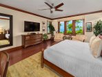 A201 Royal Ilima - The Second Master Bedroom Suite with Direct Pool, Ocean and Sunset Views, King Bed, Leather Seating...