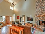 The vaulted ceilings add to the home's spaciousness.