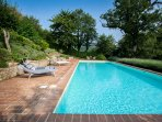 16m x 6m Saline, Heated Pool, fantastic for some proper swimming and great views too.