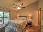 The master bedroom features a comfortable queen-sized bed.