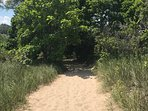 Pathway to Sheridan Beach. 5 Minute walk from property!