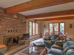 In colder months, take advantage of the home's large stone fireplace.