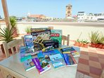 Games & guidebooks on the roof deck!