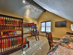With bunk beds, this room is perfect for kids!