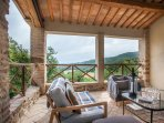 Wonderful covered terrace,an outdoor sitting room with amazing views, the perfect spot to relax .