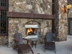 Outdoor common area fireplace