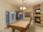 Entertainment Room with Pool Table, Gas Fireplace and TV
