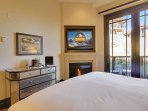 Master Bedroom with Direct TV, Private Patio, and Fireplace