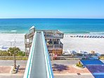 Sky bridge takes you to the sandy white beach and beautiful water of the Gulf of Mexico.