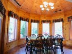 Vaulted Dining ceiling and windows all around to see the lake or keep an eye on the kids outside!