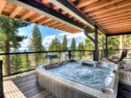 Hot tub on the spacious back deck overlooking Tahoe