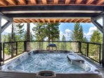 Hot tub on the lower back deck