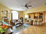 Unwind in the comfortable living area in front of the flat-screen cable TV.