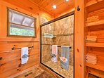 The master bathroom offers a walk in shower.