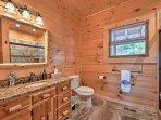 The en-suite bath is completely private.