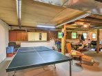 Head to the basement for a spirited game of ping pong.