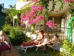 Relax in lush garden surroundings