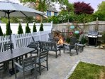 Private outdoor dining, lounging, firepit (wood included) and gas grill