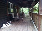 Front Porch At Big Rock Log Cabin, With Cricket.