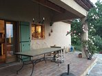 the kitchen gives onto this verandah