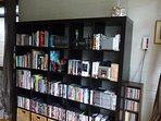 Lots of books, Dvd's and CD's.