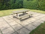 Picnic table at bottom of garden
