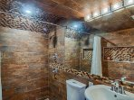 Lower level bath, walk in shower with dual rainshower