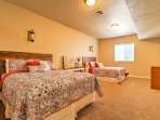 2 queen beds in the basement offer additional sleeping arrangements.