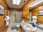 Wash up after a day of exploring in this lower king spacious bathroom, 1 of the 3 full bathrooms.